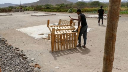Former wood pallets are turned into furniture