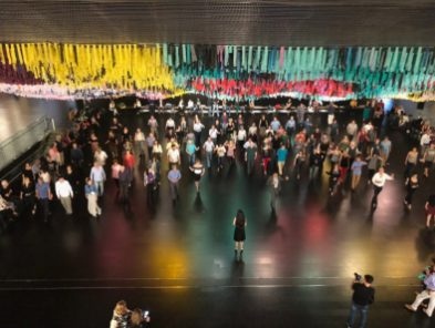 Public tango lessons at the Centro Cultural Kirchner