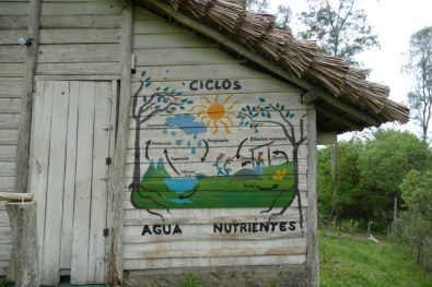 The water and nutrients cycles explained on the eco-toilet's wall