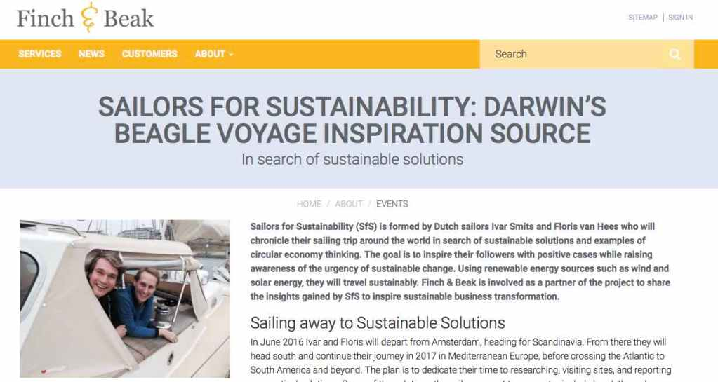 Newsletter 1 Sailors for Sustainability at Finch and Beak about Our Mission