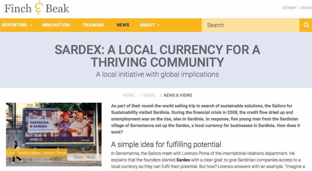 Newsletter 5 Sailors for Sustainability at Finch and Beak about Sardex