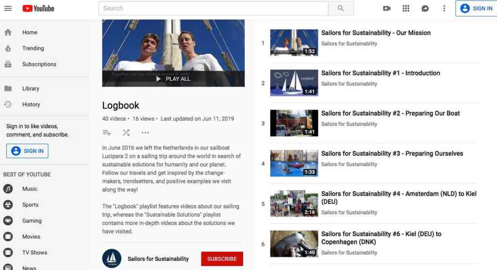 Sailors for Sustainability YouTube Playlist Logbook