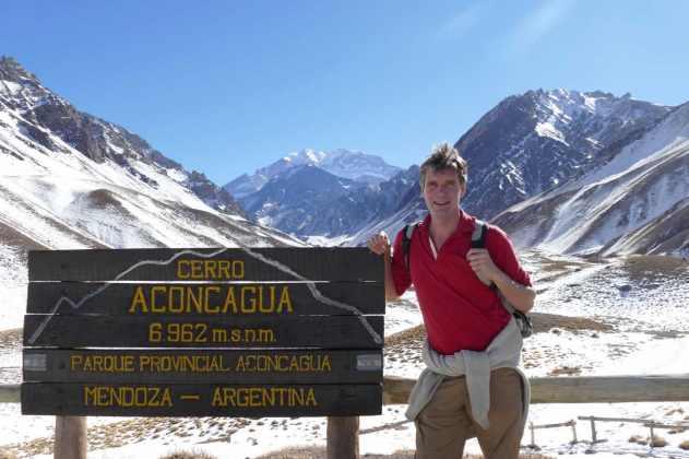 Aconcaqua peak (middle) amongst many impressive Andes mountain peaks