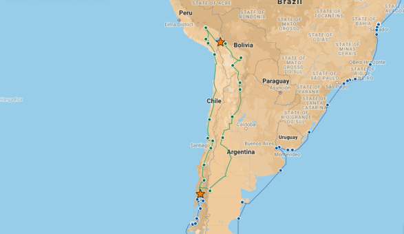 Our route from Copacabana to Puerto Montt