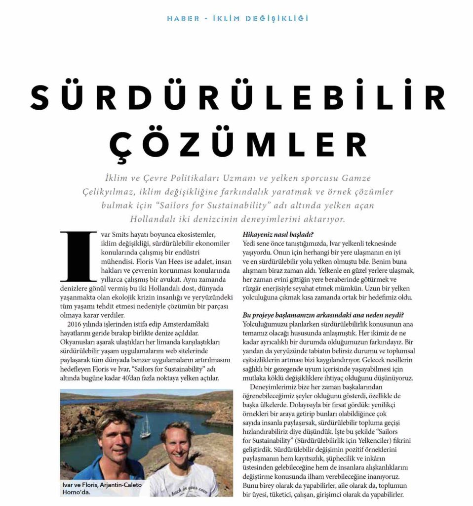 Sailors for Sustainability in Turkish Magazine Haber
