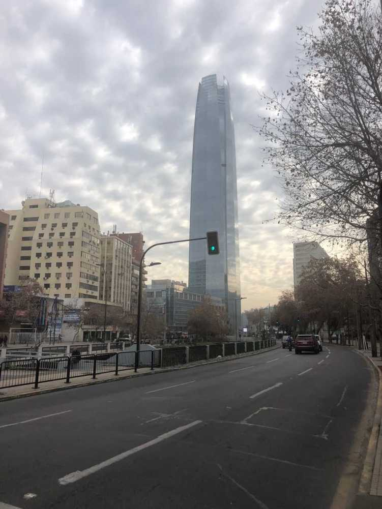 Modern downtown Santiago with the tallest building in South America