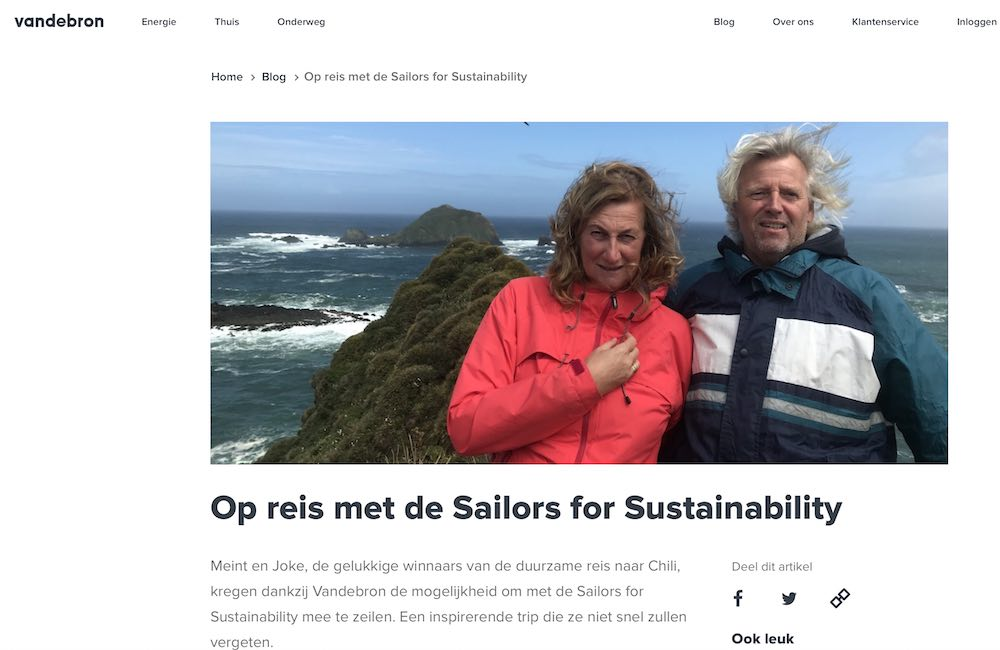 Vandebron winners about Sailors for Sustainability