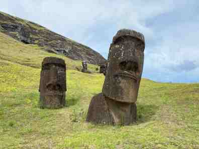 There are hundreds of Moai all over Rapa Nui