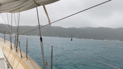 A rainy Rikitea anchorage