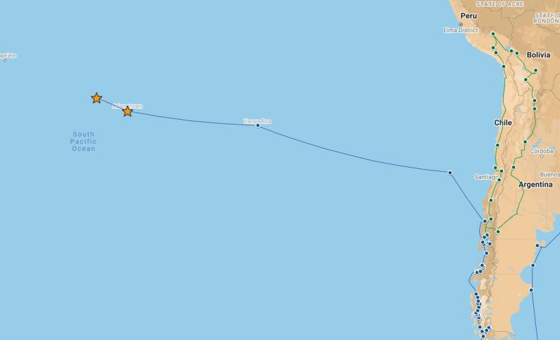 Our route from Pitcairn to Gambier