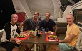 Farewell dinner with Chris and Fred on SY SeaJay