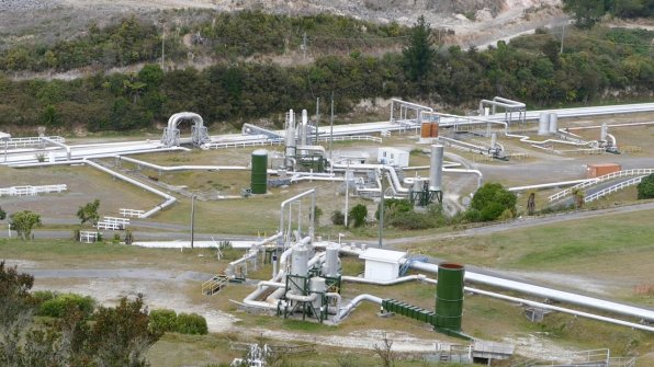 The extended steam field from the Wairakei geothermal power plant