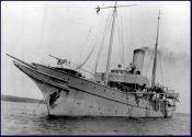 HMCS Hochelaga. Note naval signaler on bridge.