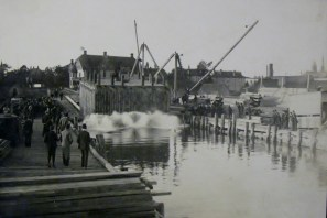 Launching one of the caissons from Connoly's Wharf