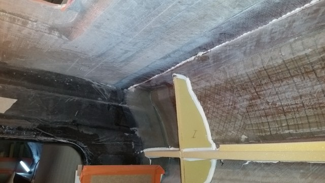 This photo shows the hull, deck joint has been bonded with adhesive.