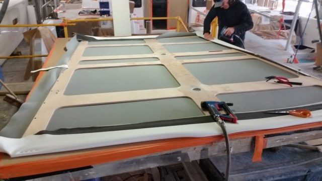 Constructing the headliner for the salon