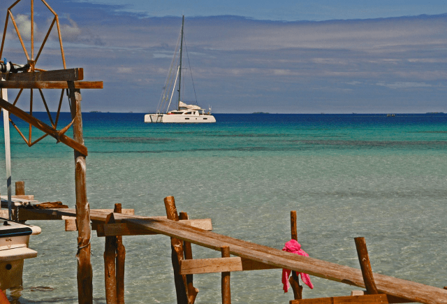 Moana at anchor in Bora Bora after her Pacific crossing