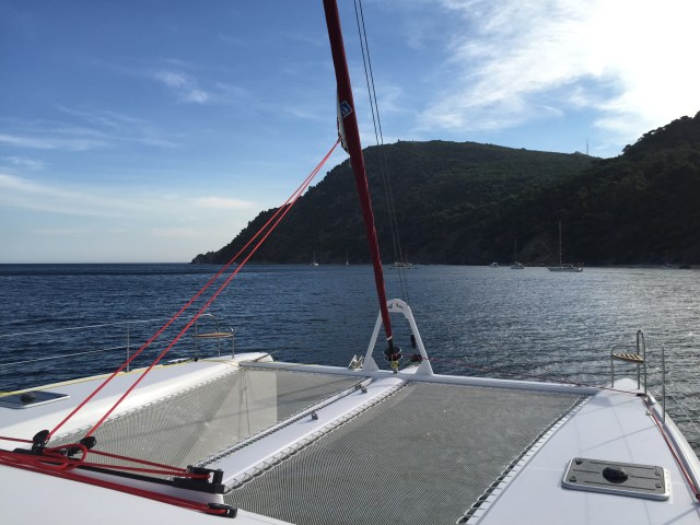 """Our """"clothing optional"""" anchorage west of Toulon"""