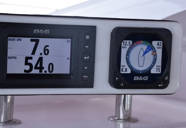 Going slowly. 7.6 knots of boat speed in 8.8 knots of winds close hauled with full main and jib.