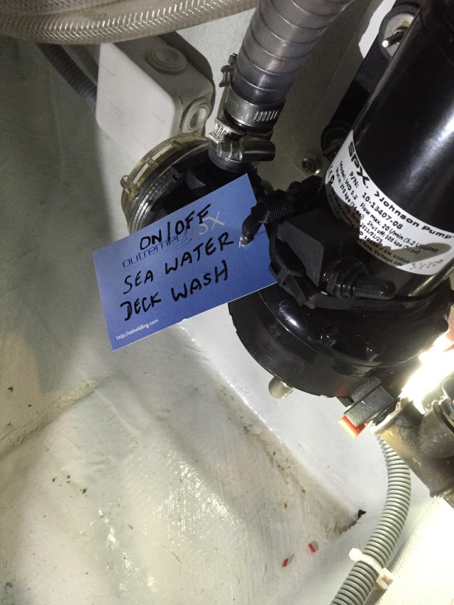 This switch allows us to isolate the deck wash sea water pump when we are on passage.