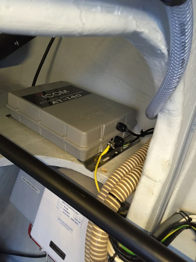 HF radio antenna tuner installed on the starboard engine room