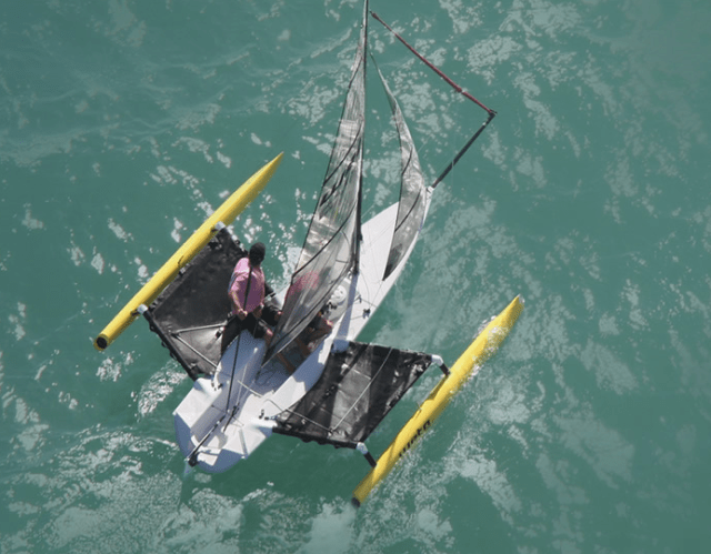 It may not look like it, but this little trimaran has almost the exact same sailplan as Wildling, just in a tiny 4.5 meter long boat. She has the same top speed as Wildling also (about 20 knots)!