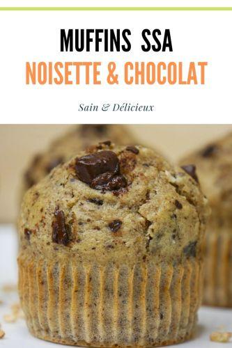 Muffins SSA noisettes Chocolat 2 - Muffins Noisettes & Pépites de Chocolat (Sans Sucres Ajoutés)