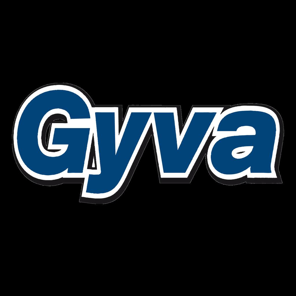 A Go Partner logos on black square.Gyva