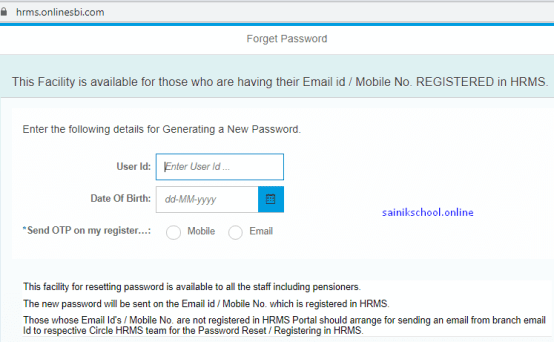 How to Reset Password for SBI HRMS Portal Online Login?