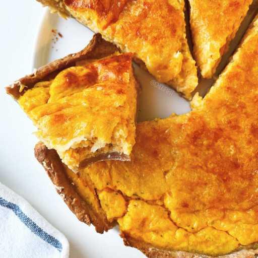 recette healthy et végétarienne de quiche à la courge butternut faite maison sans beurre et sans crème