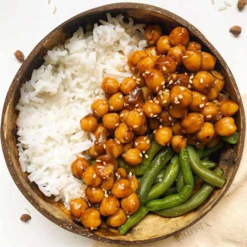 Pois chiches avec sauce teriyaki maison sans soja (idée de repas vegan)
