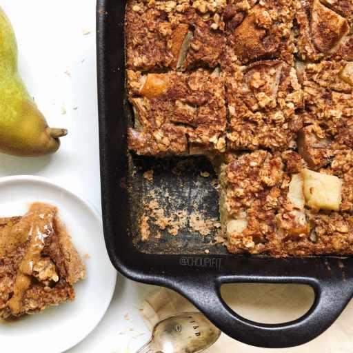 Recette healthy porridge au four à la poire et cannelle