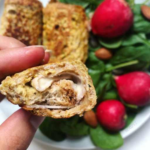 recette healthy et gourmande de pain de mie roulé jambon et fromage façon pain perdu sans matière grasse ajoutée
