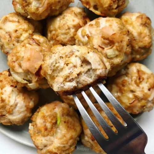 Boulette de poulet haché santé au fromage et jambon