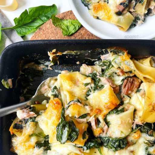 recette healthy et allégée de gratin de pâtes au thon avec sauce béchamel allégée sans beurre et sans crème