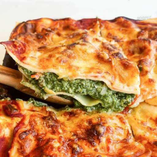 recette healthy et light de lasagnes allégées à la ricotta, épinards et sauce tomate sans beurre et sans viande