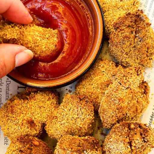 recette healthy et végétarienne de nuggets cuits au four aux pois chiches et tofu