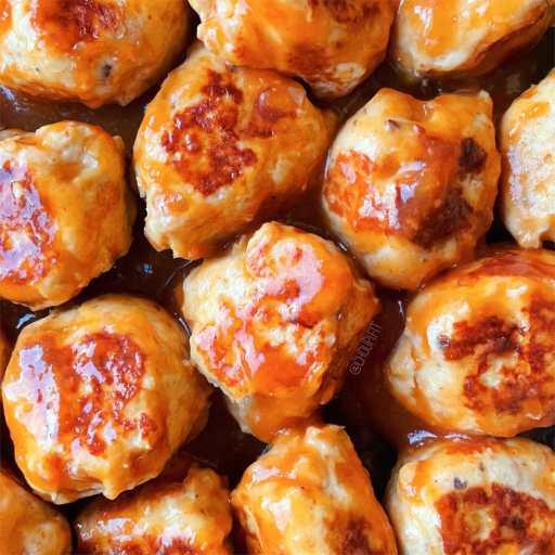 recette healthy et asiatique de boulettes de poulet à la sauce aigre-douce