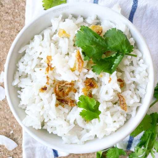 recette facile et rapide de riz basmati à la noix de coco sans lactose et sans gluten