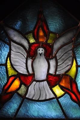 Pentecote vitrail colombe