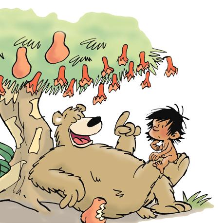 Dessin de Baloo, du livre de la jungle qui donne des conseils à Mowgli