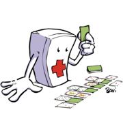 Dessin d'une pharmacie qui joue aux cartes