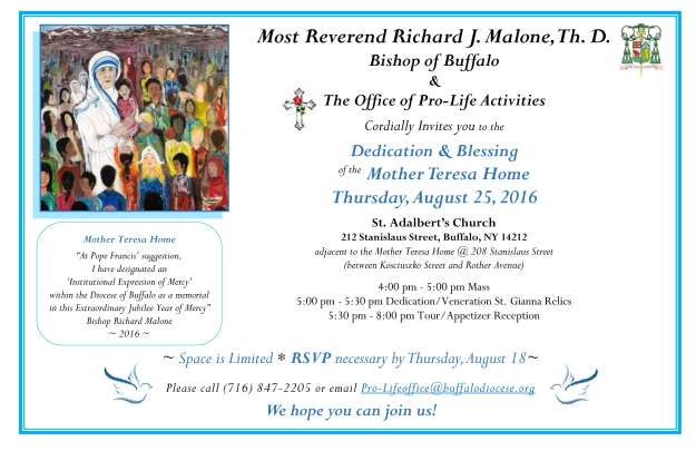 Invitation to the Dedication Blessing of the Mother Teresa Home 8-25-16