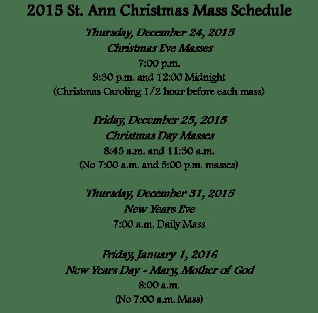 saint ann mass schedule