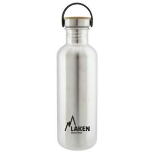 drinkfles RVS Laken zilver met bamboe dop