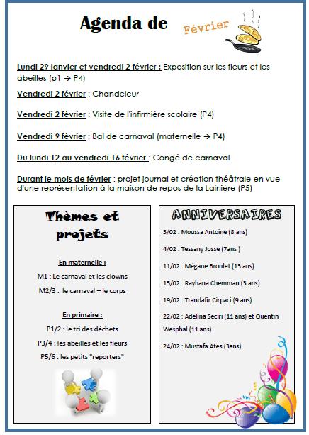 agenda fevrier 2018