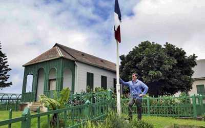 Michel Dancoisne-Martineau outside Longwood House [Saint Helena Island Info:Longwood House]