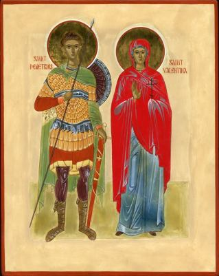 Great Martyr Demetrios (+304) and Martyr Valentina (+308). This icon was painted for a married couple who are friends and benefactors of the monastery.