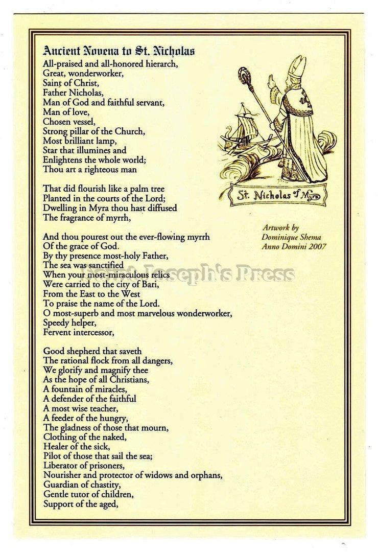 Novena To St Nicholas Deluxe Prayer Card Saint Josephs
