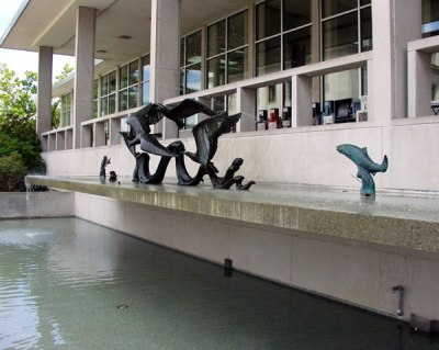 the DuPen fountain at the Joel Pritchard Building at the state capital in Olympia, 1959